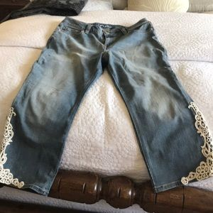INC jeans with cotton ivory lace on side of bottom